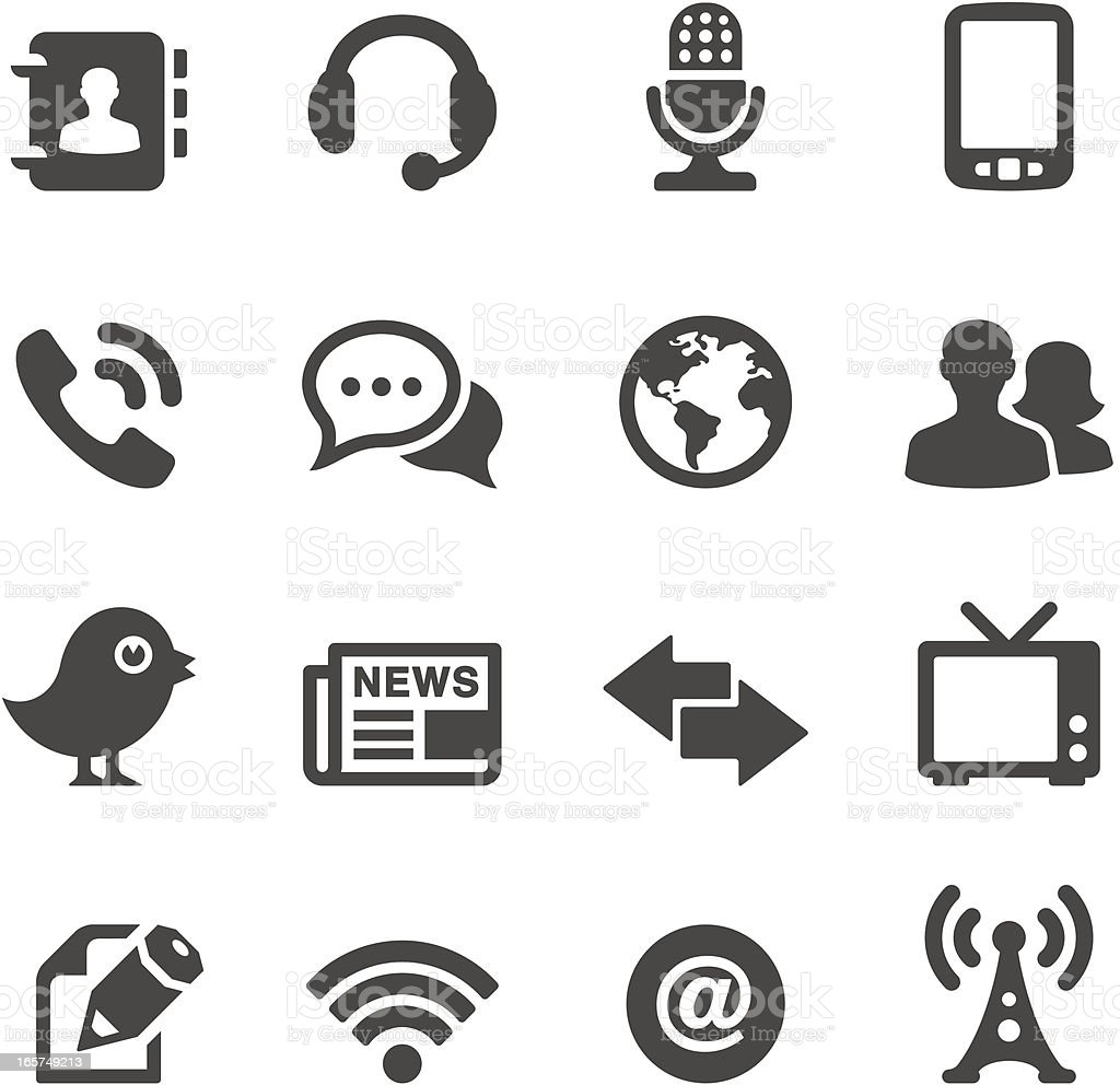 Mobico icons — Communication and media vector art illustration