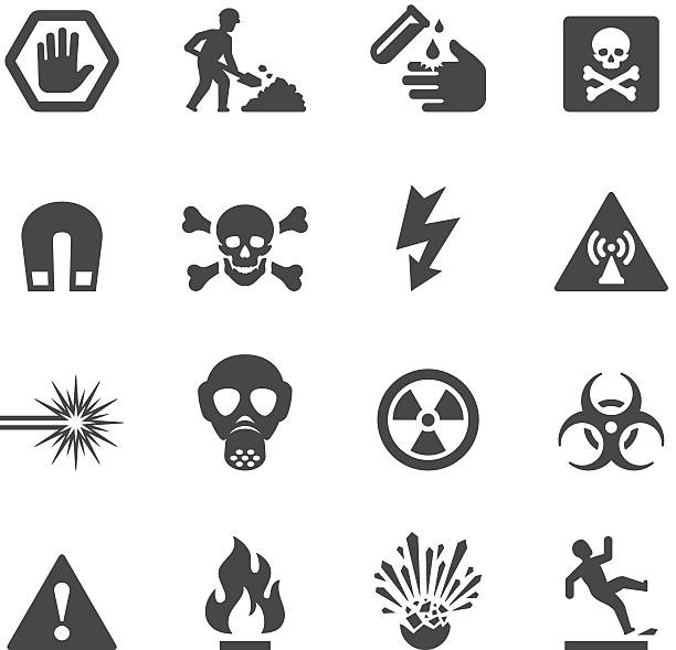 Mobico icons - Hazard and Warning Mobico collection - Hazard and Warning icons. hazardous chemicals stock illustrations