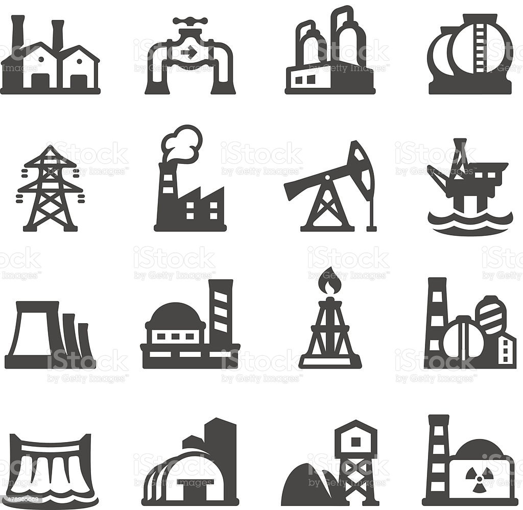 Mobico icons - Industrial Building vector art illustration