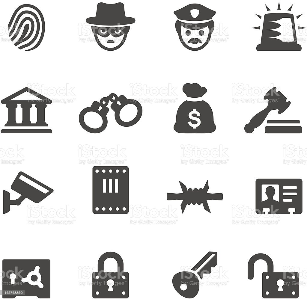 Mobico icons — Law Enforcement and Crime vector art illustration