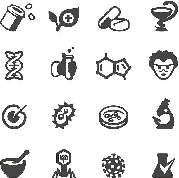 Mobico icons - Pharmacology Mobico collection - Pharmacology industry icons microbiology stock illustrations
