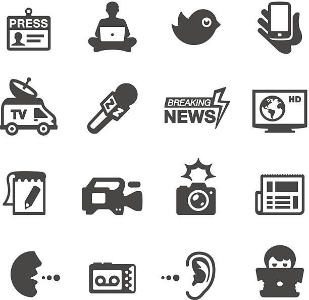 stockillustraties, clipart, cartoons en iconen met mobico icons - press & news - journalist