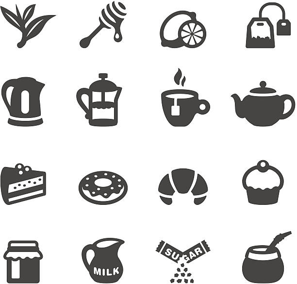 Mobico icons - Tea Mobico collection - Tea and Sweets icons. teapot stock illustrations