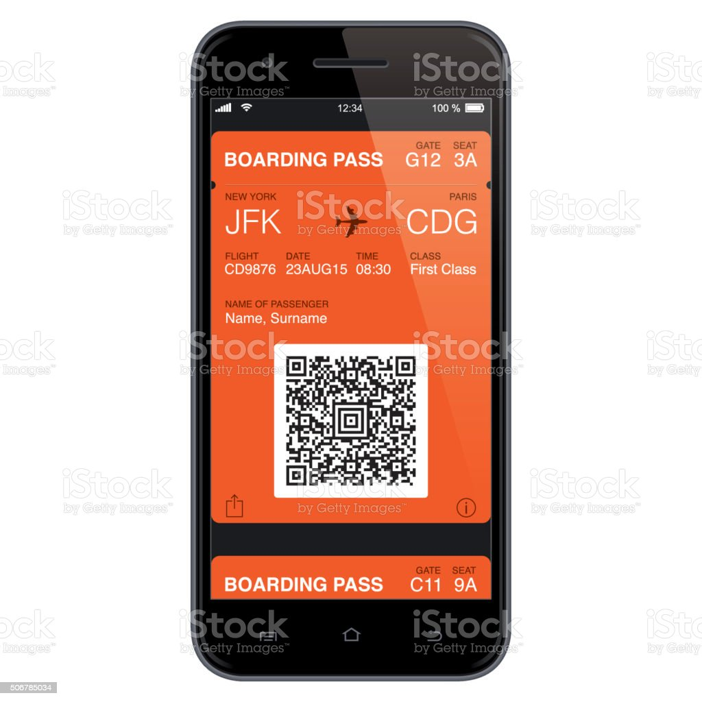 Mobil Boarding Pass Template. Vector vektorkonstillustration