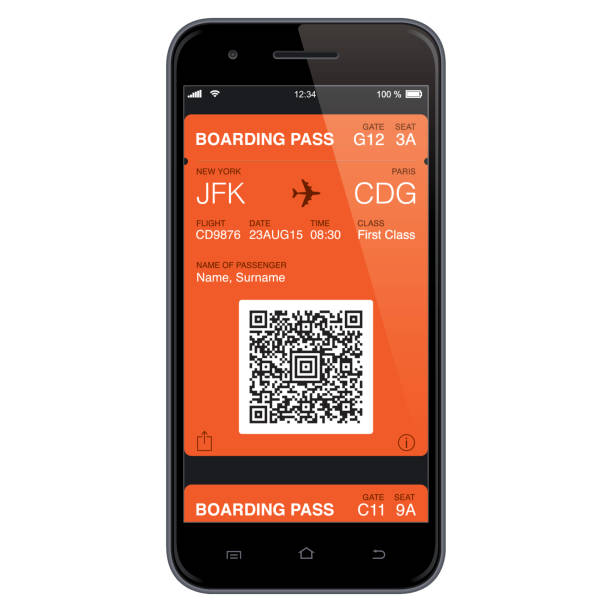 mobil boarding pass template. vector - airplane ticket stock illustrations