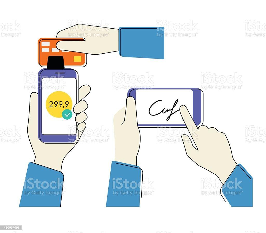 Celular com assinatura de crédito - ilustração de arte em vetor