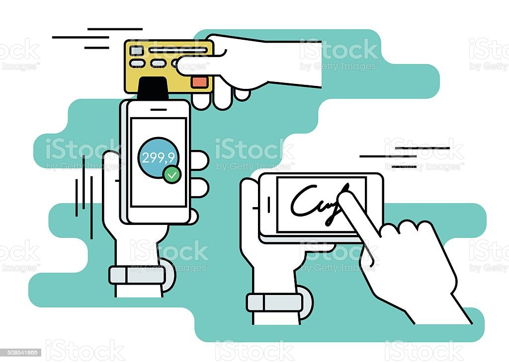 Mobile acquiring with signature via smartphone vector art illustration