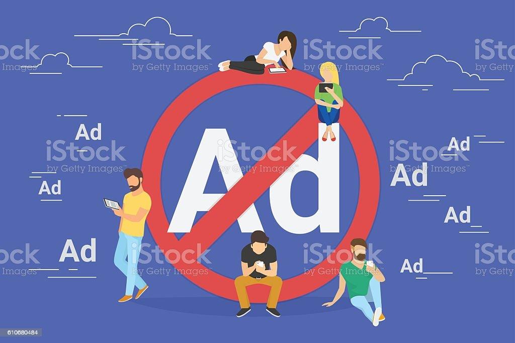 Mobile ad prohibition concept illustration vector art illustration
