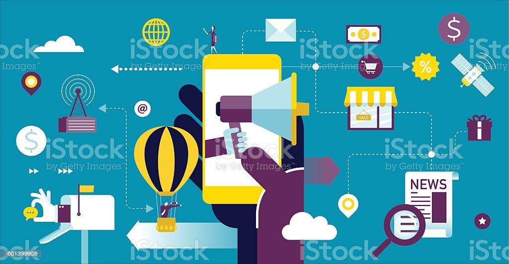 Mobile advertising vector art illustration