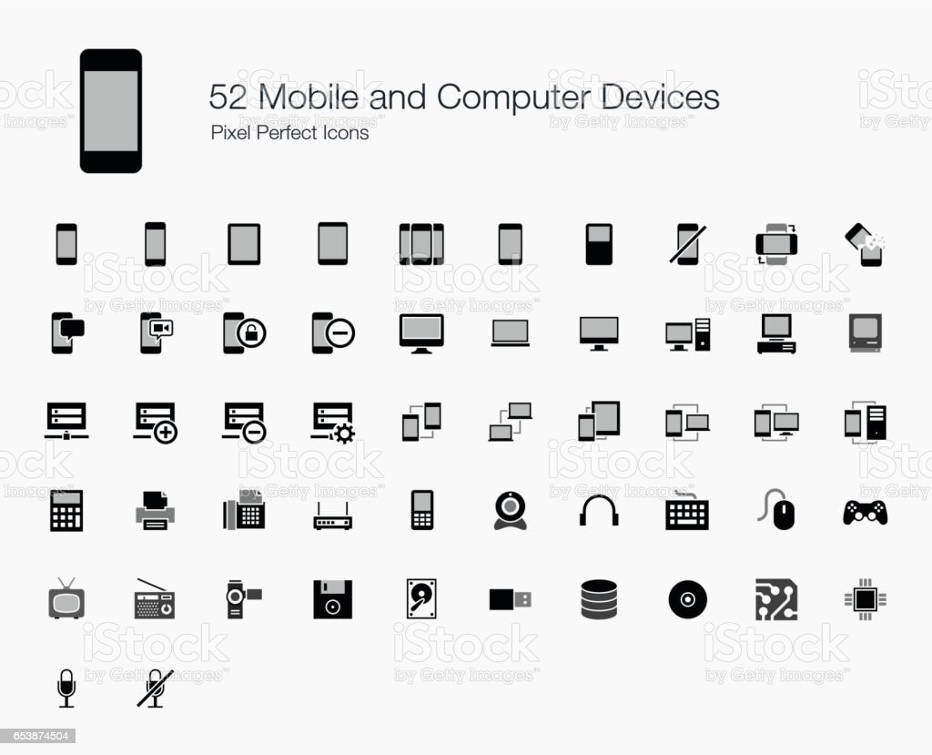 52 Mobile and Computer Devices Pixel Perfect Icons vector art illustration