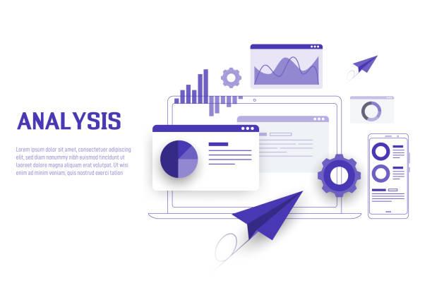 stockillustraties, clipart, cartoons en iconen met mobiele en laptop data-analyse, onderzoek, planning, statistiek, financieel, infographic, management vector concept. vector - laos indochina