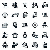 A set of icons related to mobile and online banking. The icons include people using mobile devices to do online banking from home, work or wherever they are. The icons also include online banking from computers, electronic check deposit, banking security, money transfers, using a bank card and banking while seated in a chair among others.