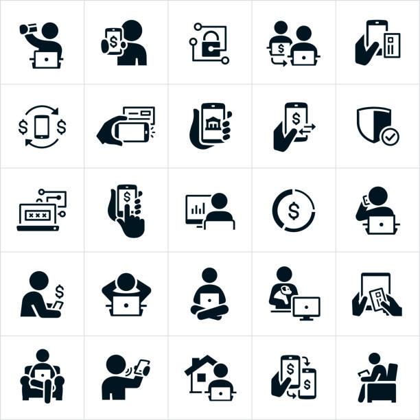illustrazioni stock, clip art, cartoni animati e icone di tendenza di icone di mobile e online banking - dispositivo informatico portatile