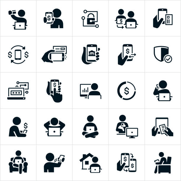 mobile and online banking icons - bank stock illustrations