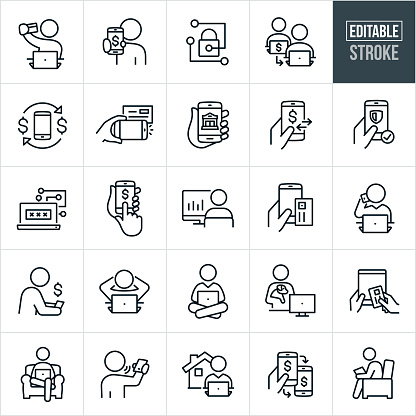 A set of mobile and online banking icons that include editable strokes or outlines using the EPS vector file. The icons include a person holding a bank card at computer while doing online banking, customer holding out phone with dollar sign on screen, one person transferring money to another person using direct payment, mobile check deposit, banking online using smartphone, secure network, person using laptop computer to do online banking, person using a tablet PC to do online banking, banking from home and other related icons.