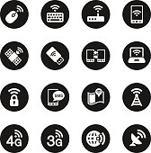 Mobile and Wireless Technology  Icons - Black Circle Series