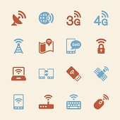 Mobile and Wireless Technology  Icons Color SeriesVector EPS10 File.