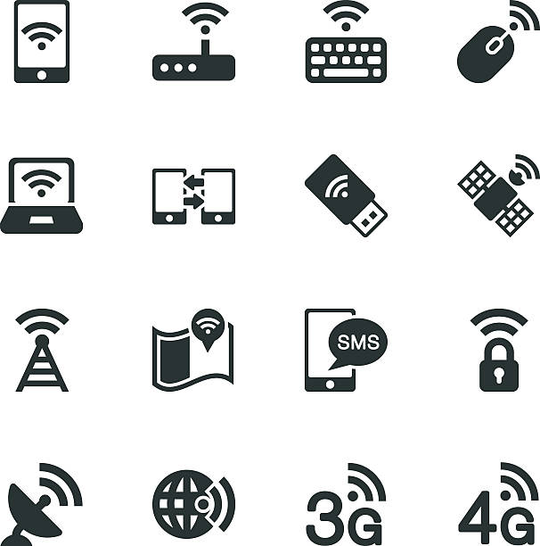 Mobile and Wireless Technology Silhouette Icons Mobile and Wireless Technology Vector File Silhouette Icons. repeater tower stock illustrations