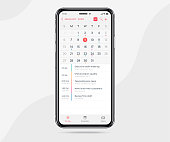 istock Mobile app calendar light mode concept, Activity calendar template UI UX design, Smartphone calendar schedule application, Vector illustration 1278211835