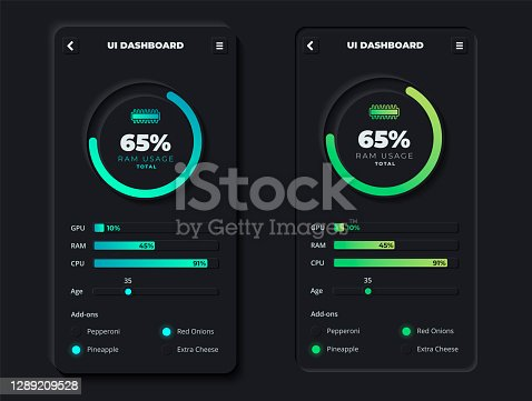 istock Mobile App Dashboard with Futuristic Infographic Data Chart in Clean and Modern Skeuomorphism or Neumorphism 3D Style Design with Neon Blue and Turquoise Percentage Slider 1289209528