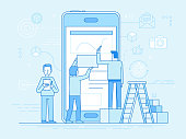 Vector illustration in trendy flat and linear style -mobile app design and user interface development concept - small people building application with blocks on the screen of the mobile phone - banner and infographics design template