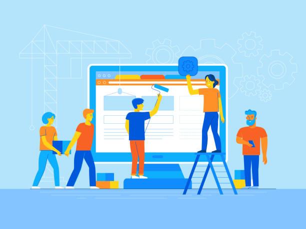 Mobile app-Design und User interface Entwicklung – Vektorgrafik