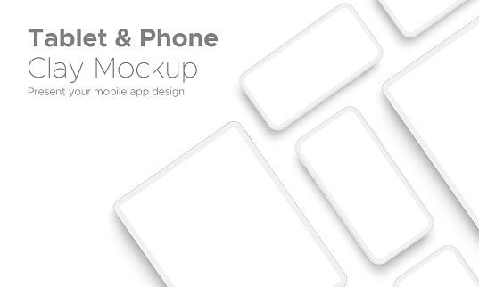Mobile App Design Tablet Computer and Smartphone Clay Mockup With Space for Text