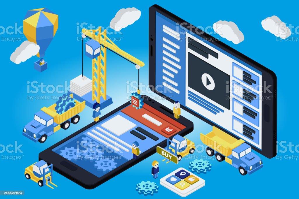 Mobile App Development, Experienced Team. Flat 3d isometric vector art illustration
