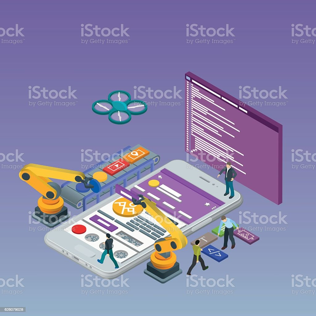 Mobile App Development, Experienced Team. Html code to the screen. vector art illustration
