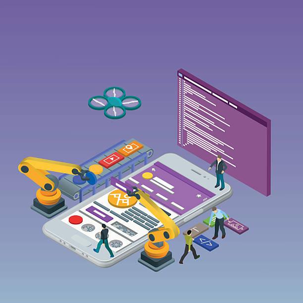Mobile App Development, Experienced Team. Html code to the screen. vector art illustration