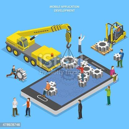 Mobile app development flat isometric vector conceptual illustration. People arrange gear on smartphone screen using crane and forklift.