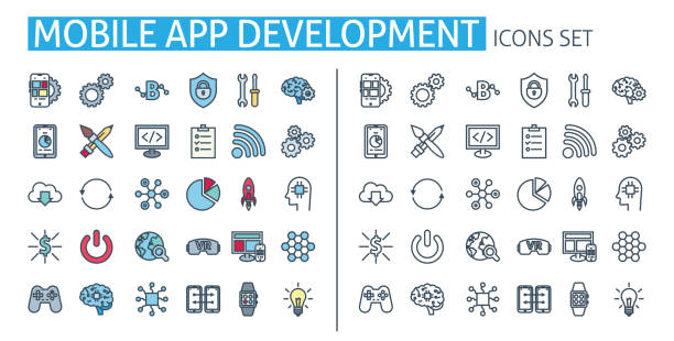 mobile app-entwicklungssymbole festgelegt. für smartphone-benutzeroberfläche, website, software api, seo poster - tablet mit displayinhalt stock-grafiken, -clipart, -cartoons und -symbole