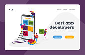 Mobile App Development Landing Page Template. Tiny Characters Put Application Icons on Smartphone Screen, People Working Together Create Ui Layout for Mobile Phone. Cartoon Vector Illustration