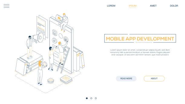 Mobile App-Entwicklung-Liniendesign-Stil isometrisches Web-Banner – Vektorgrafik