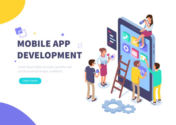 mobile app development vector art illustration