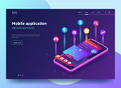 Mobile app development vector illustration. Isometric mobile phone with layout of application. User experience, user interface. Gadget software.Homepage template. design. Eps 10.