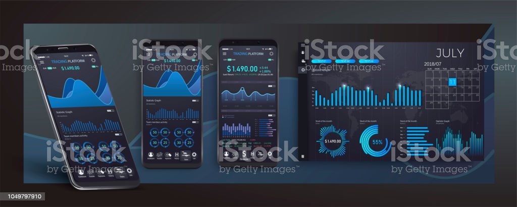 Mobile app infographic template with modern design weekly and annual statistics graphs. UI UX design app cryptocurrency wallet. Modern user interface screen template for mobile smart phone vector art illustration
