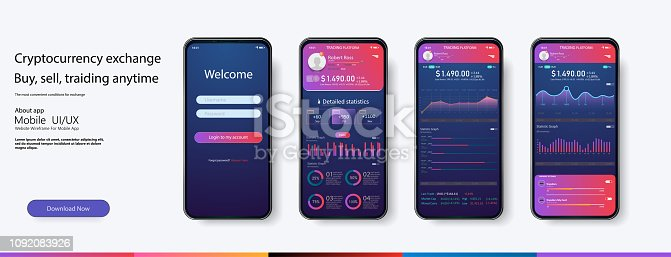 Mobile app infographic template with modern design weekly and annual statistics graphs. Pie charts, workflow, web design,