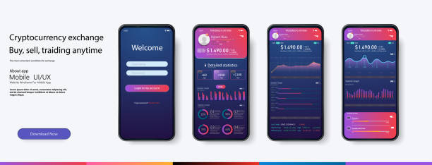mobile app infographic template with modern design weekly and annual statistics graphs. pie charts, workflow, web design, ui elements. vector eps 10 - graficzny interfejs użytkownika stock illustrations