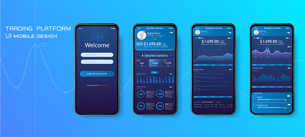 Mobile app infographic template with modern design weekly and annual statistics graphs. Pie charts, workflow, web design
