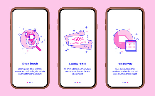 Mobile app intro screens.Online shopping, internet purchases with targeted delivery. Search for goods in the network, promotional code, payment and courier delivery of the order.