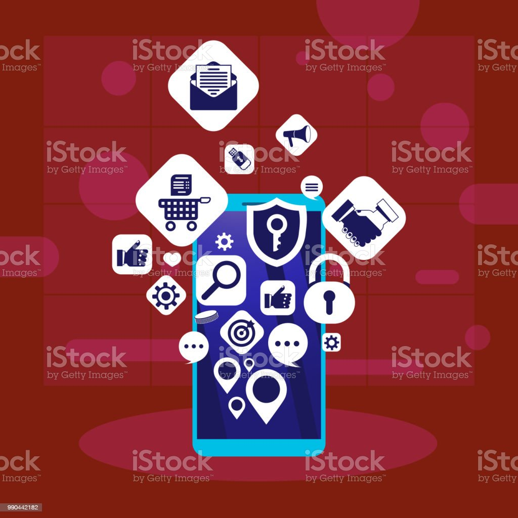 Mobile App Network Applications Icons Social Media Networking Concept For Design Work And Animation Flat Stock Illustration Download Image Now Istock