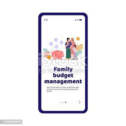 istock Mobile app on phone screen for plan and management of finance family budget. 1328890650