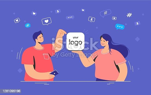Mobile app presentation blank template. Flat vector concept illustration of smiling woman showing a new application and man pointing to it for social media chatting and communicating online