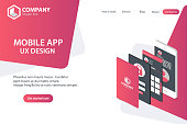 Mobile APP Website Landing Page Vector Template Concept Design