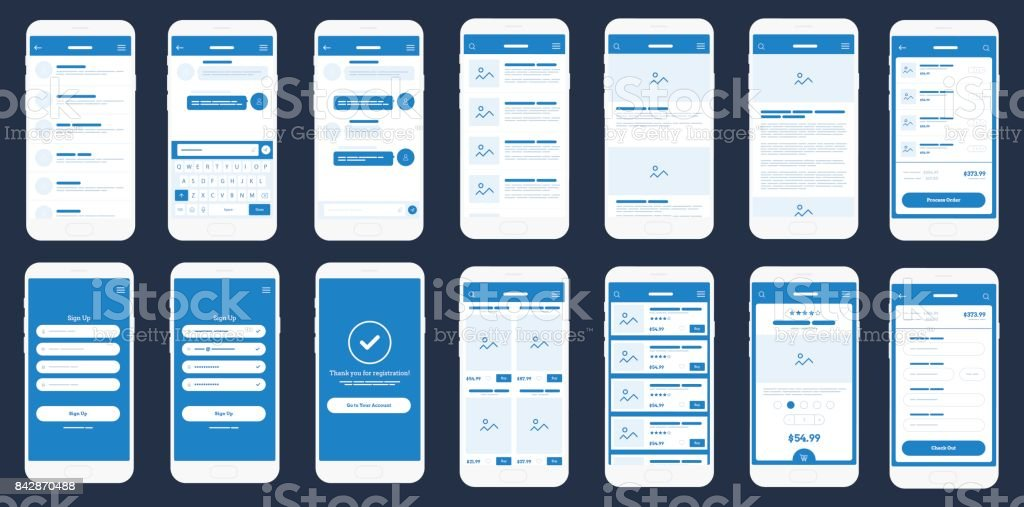 Application mobile filaire Ui Kit. Wireframe détaillée pour le prototypage rapide - Illustration vectorielle
