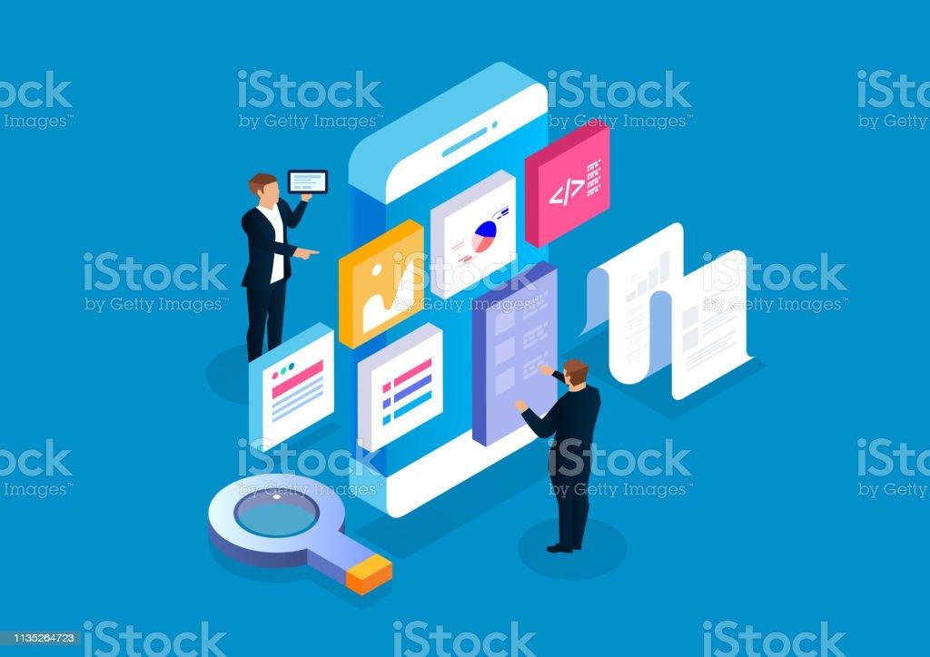 Aplicación móvil y desarrollo - arte vectorial de Adulto libre de derechos