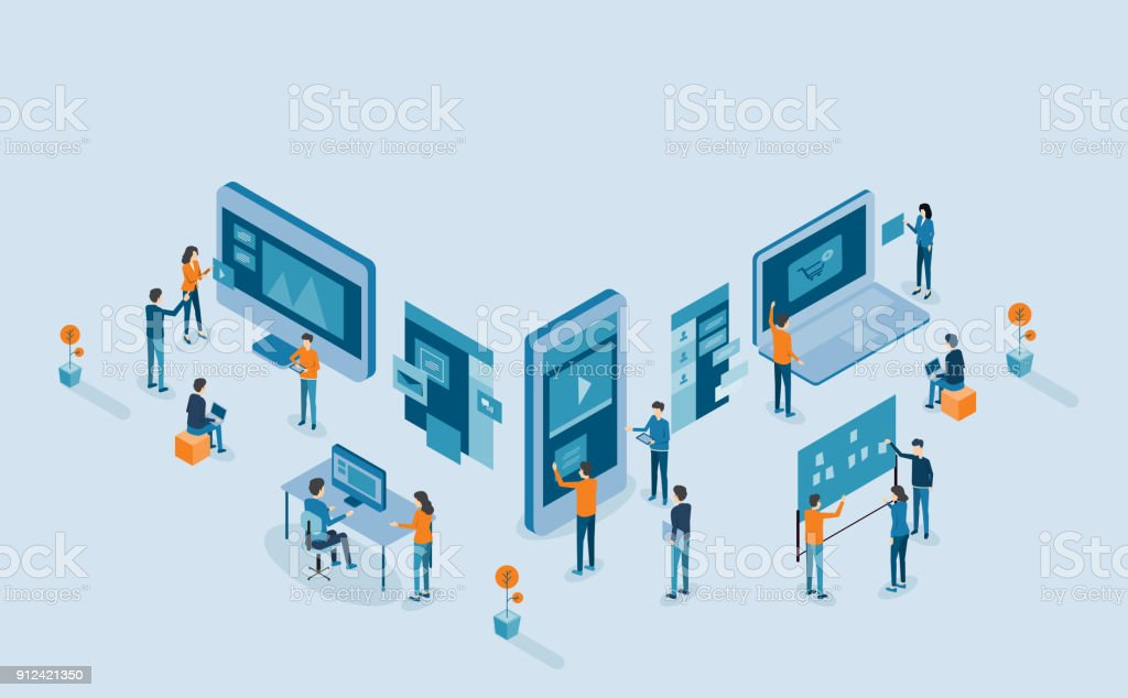 mobile application and web design  development process with group business team  working and project brainstorming vector art illustration