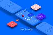 istock Mobile application design. Mobile phone mockup with a set of tools for creating a user interface. Layered illustration with mobile phones and mobile application parts. Isometric style 1265675502