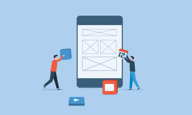 Mobile Anwendungsentwicklung und Business Team Arbeitskonzept – Vektorgrafik